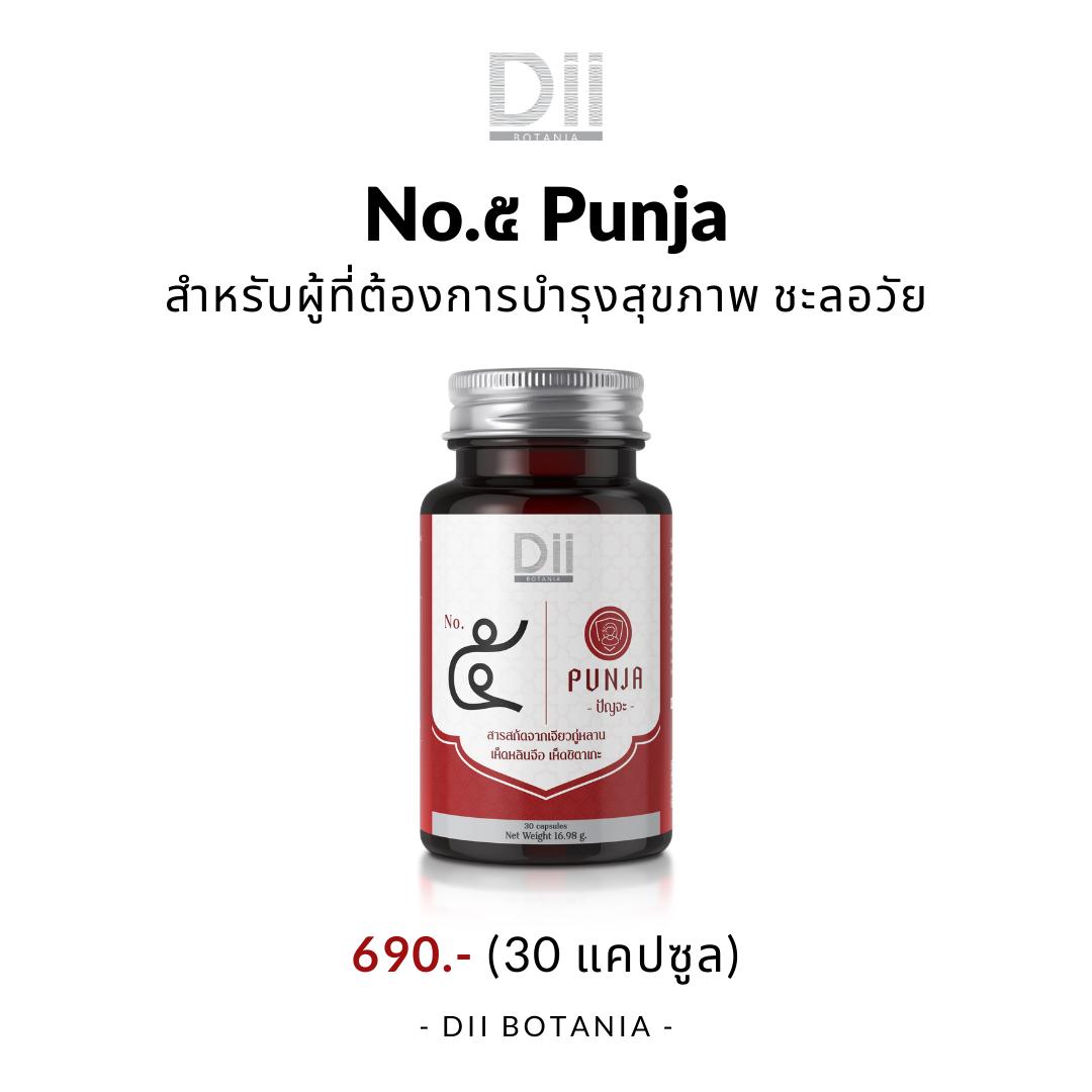 Dii Botania No.๕ Punja เอ็นโอ.ไฟฟ์ ปัญจะ (สำหรับผู้ที่มีปํญหาเจ็บป่วยง่าย ช่วงที่พักผ่อนน้อย)